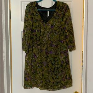 Floral Jcrew dress w/ sheer sleeves &elastic waist
